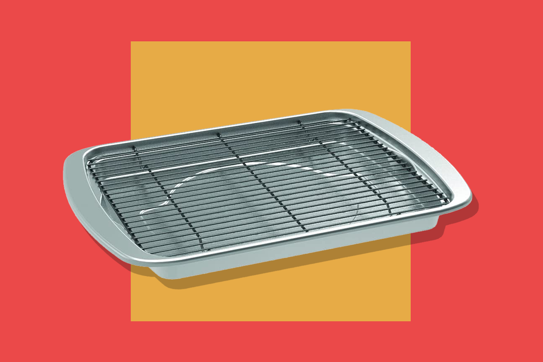 a Nordic Ware Oven Crisp Baking Tray on a red background with orange square