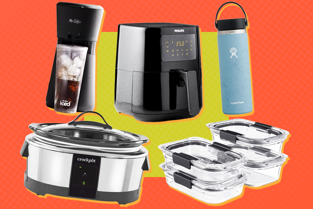 an array of kitchen items including an air fryer, coffee maker, water bottle, and slow cooker are displayed on a teal and citron background
