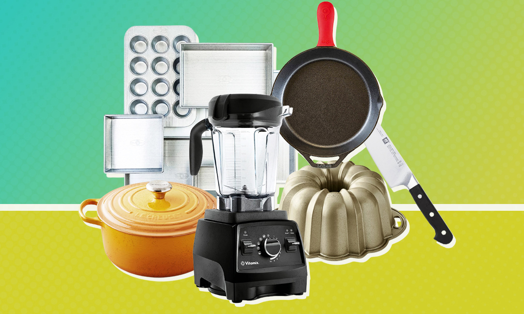 kitchen products on green and blue gradient background