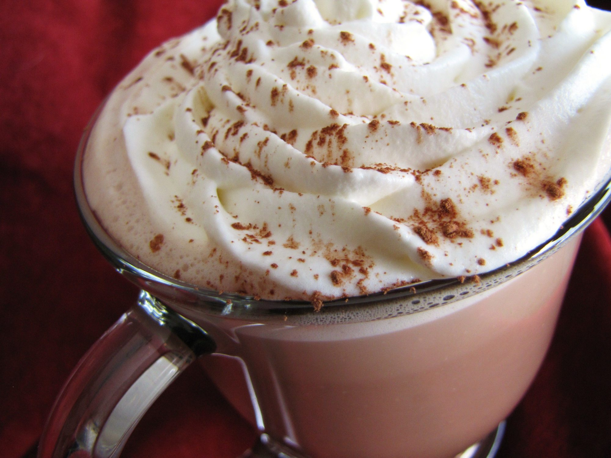 closeup of a whipped cream-topped glass mug of hot cocoa dusted with cinnamon