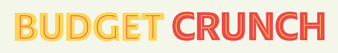 program logo, in red and yellow lettering reading Budget Crunch