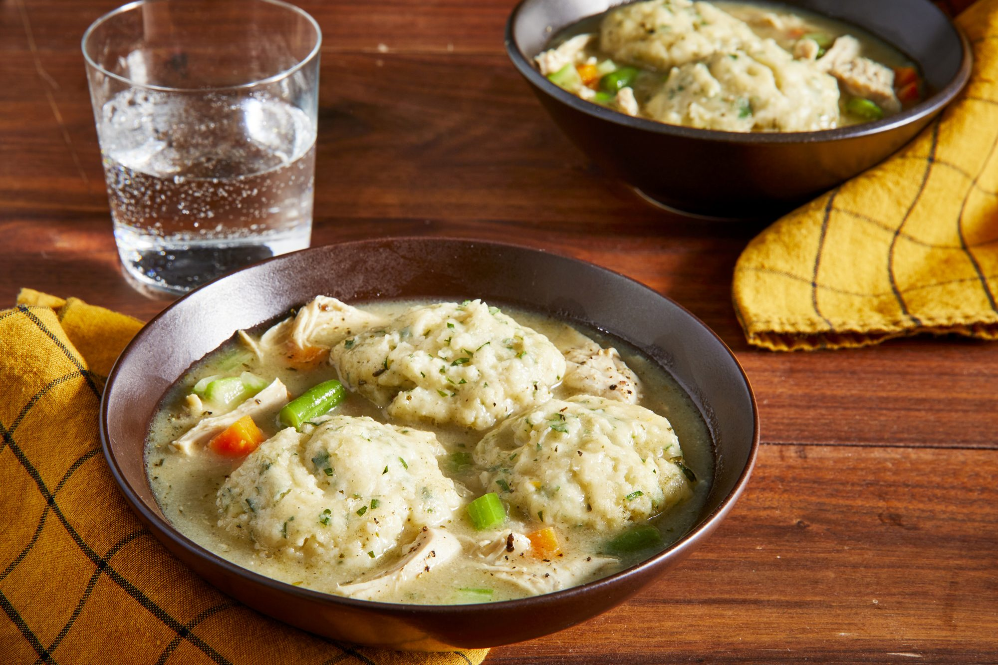 looking into a single bowl of instant pot chicken and dumplings.