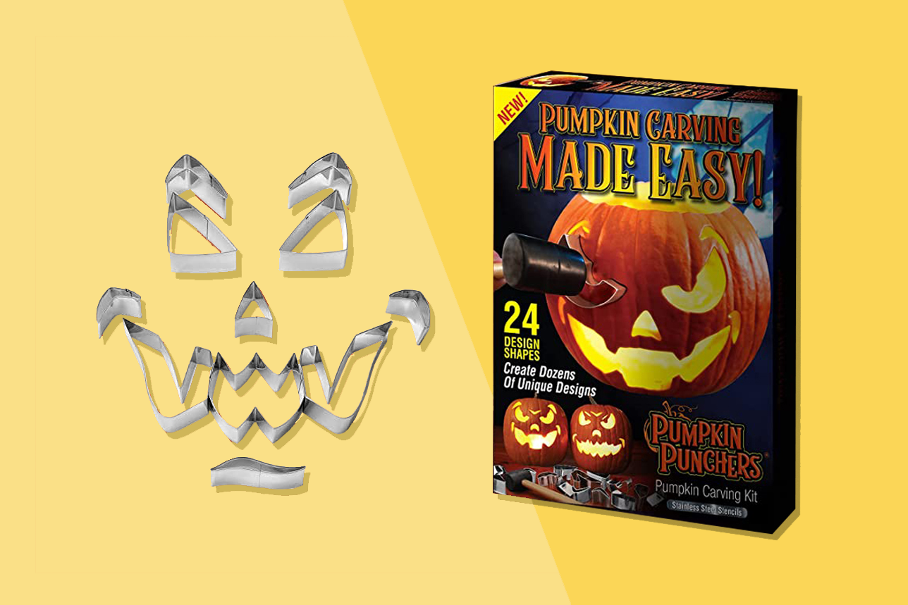 Pumpkin carving kit box and pieces