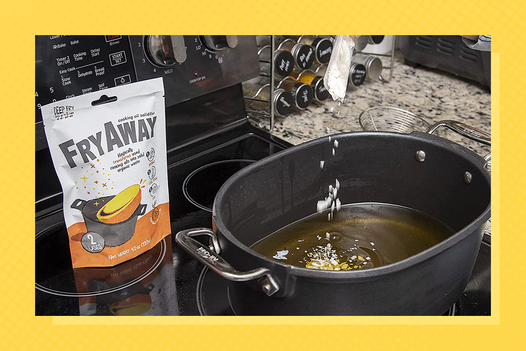 FryAway Deep Fry Waste Cooking Oil Solidifier Powder on a stovetop with a pot of oil