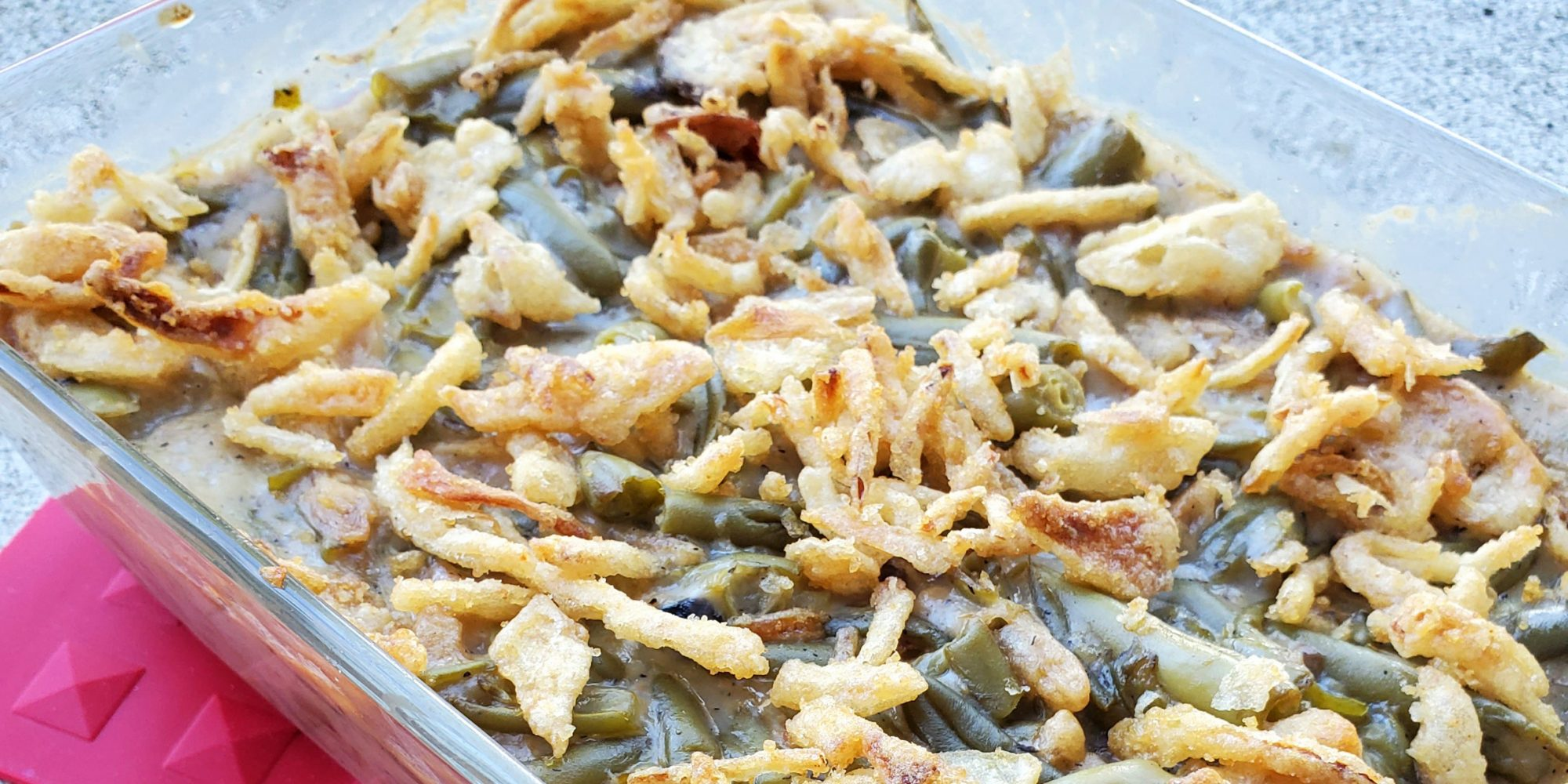 close up view of campbell's green bean casserole