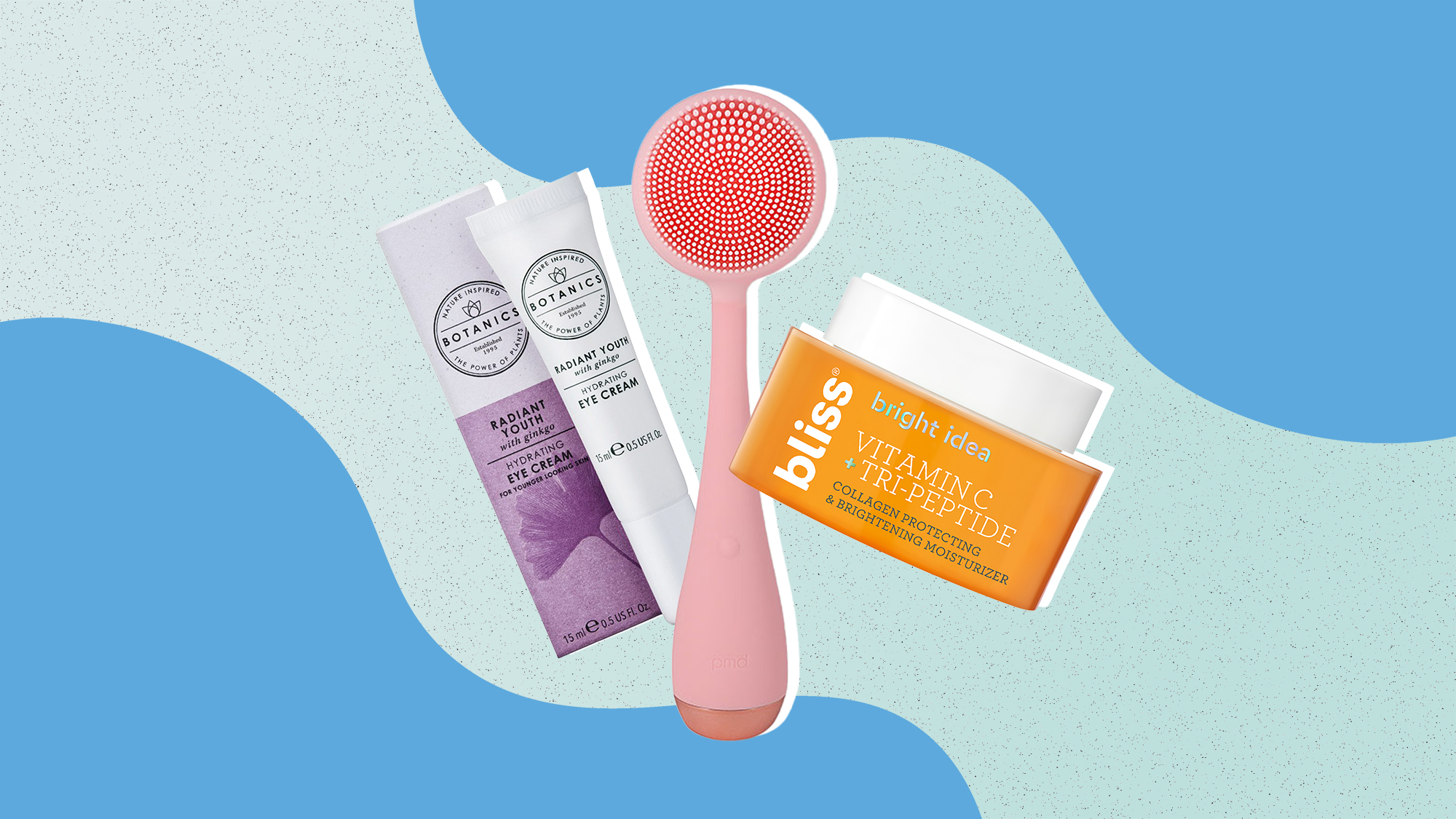 three beauty products on a designed blue background