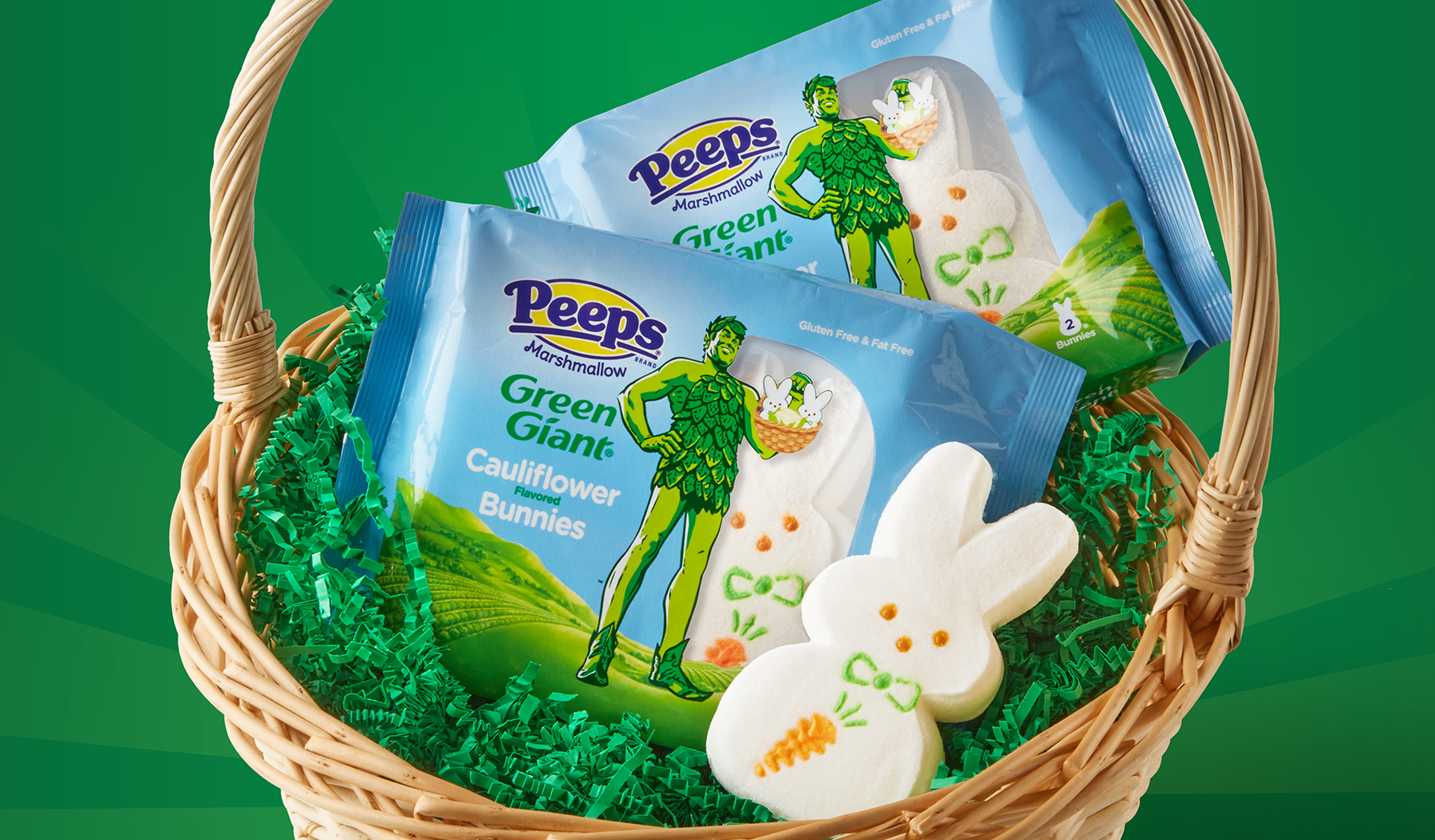 green giant cauliflower-flavored peeps in an easter basket
