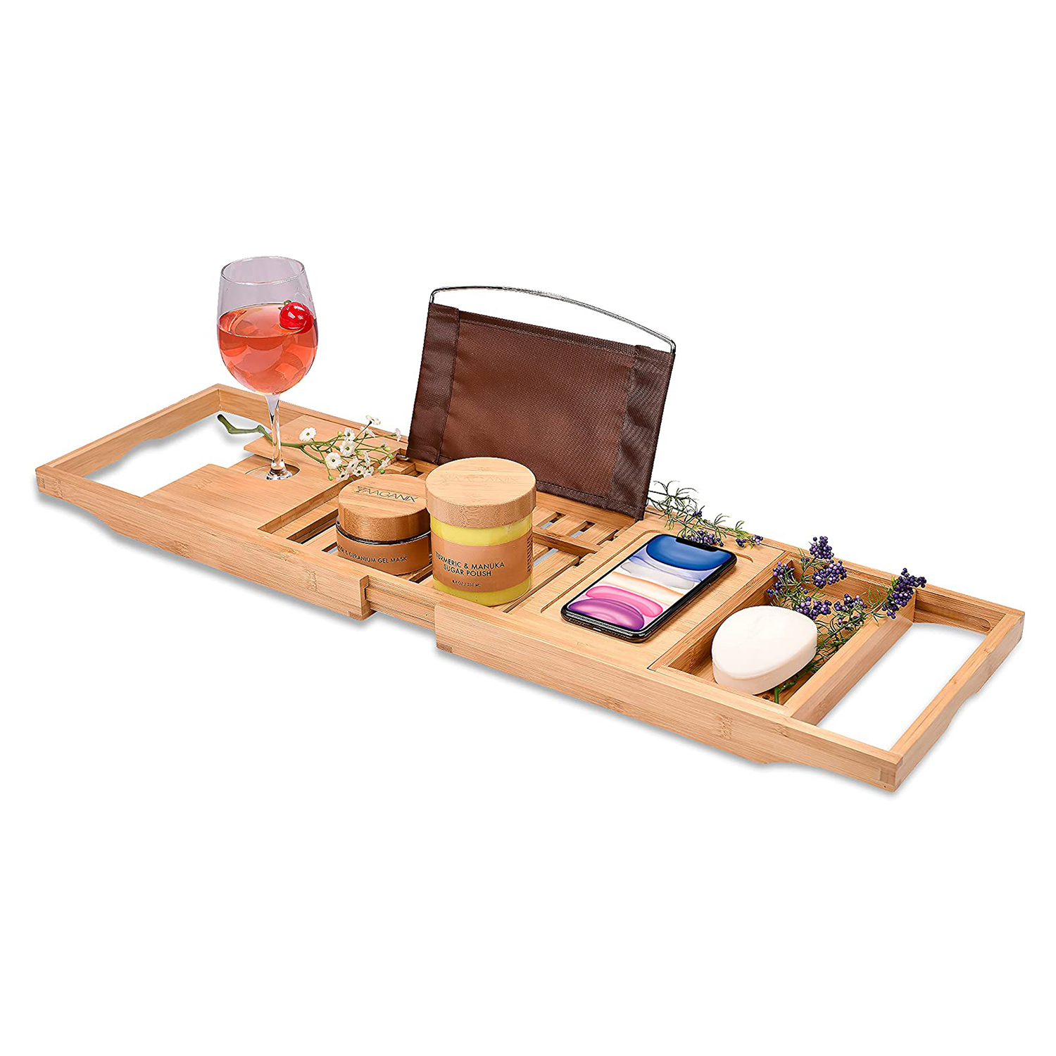 Bamboo Bathtub Tray - Perfect Expandable Bathtub Caddy with Reading Rack or Tablet Holder