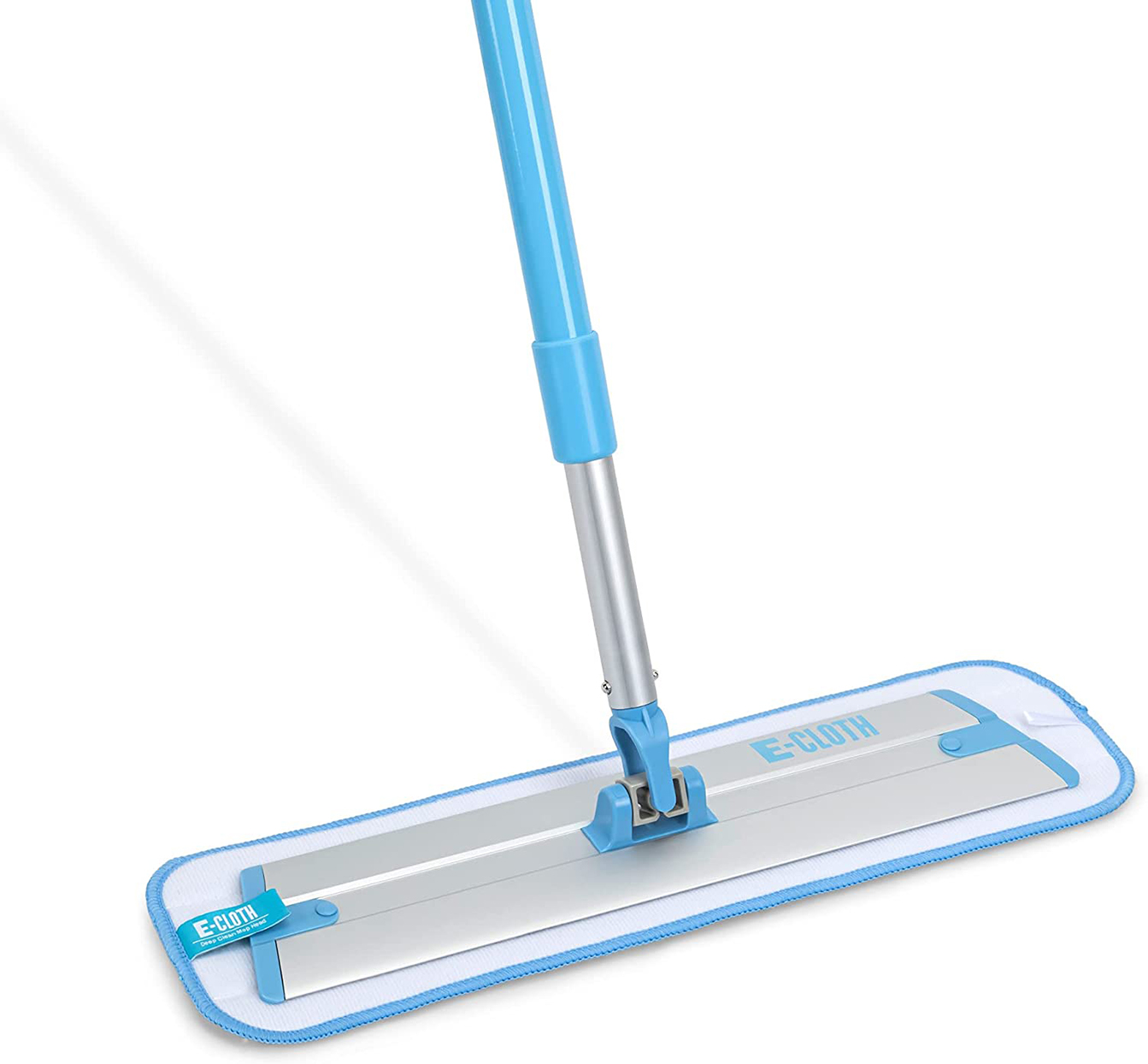 blue and white microfiber mop