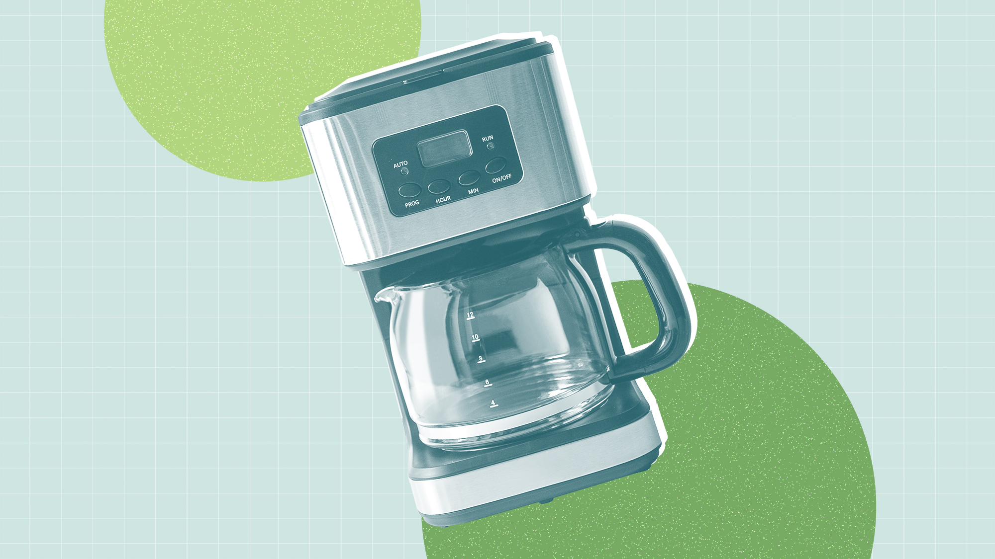 Coffee maker on a designed background