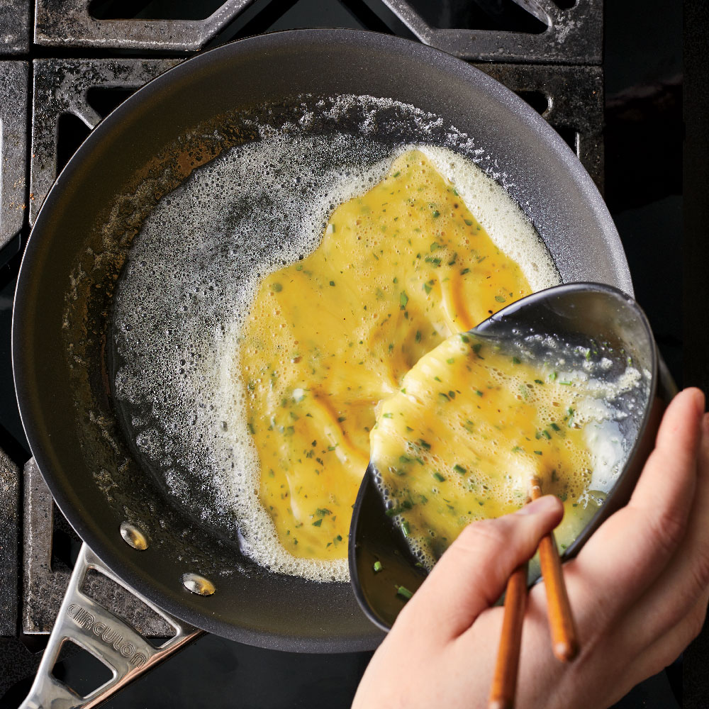 How to Make a Rolled Omelet - Add Eggs to Pan