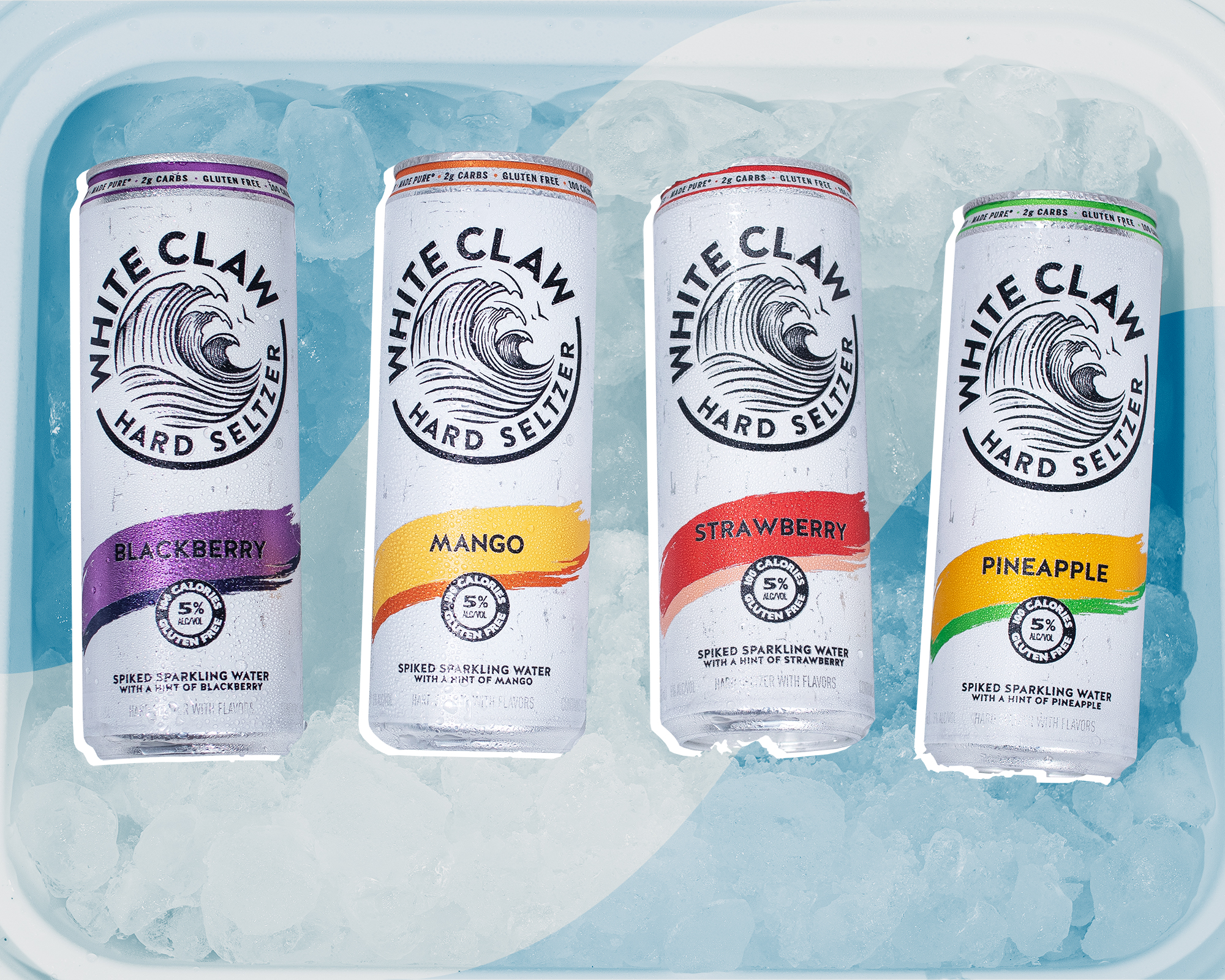 4 cans of White Claw in a cooler full of ice