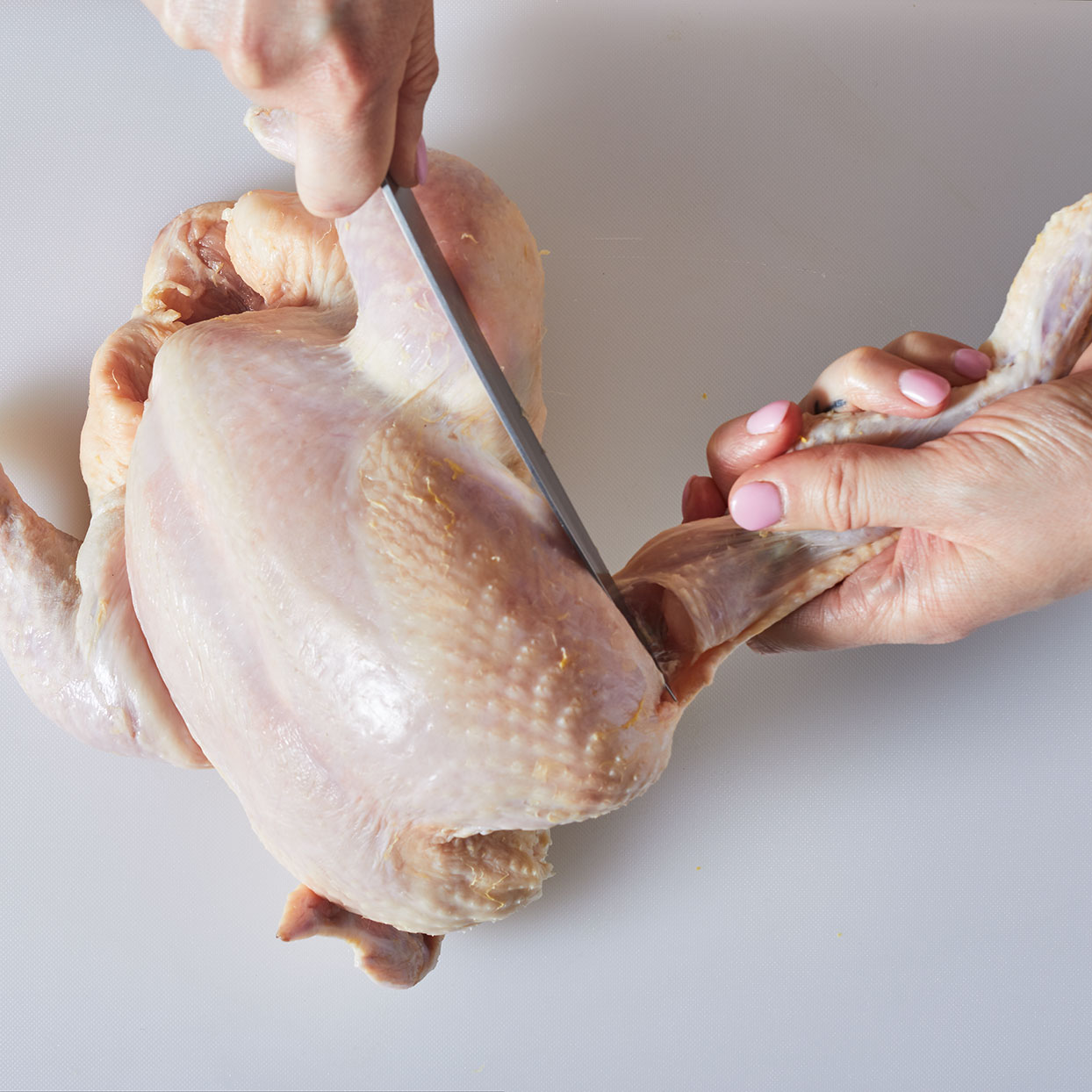 How to cut up a whole chicken step 1