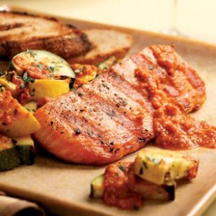 Wednesday: Grilled Salmon & Zucchini with Red Pepper Sauce