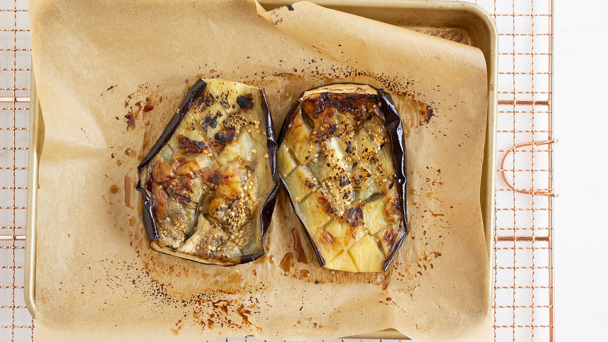 how to roast eggplant halves