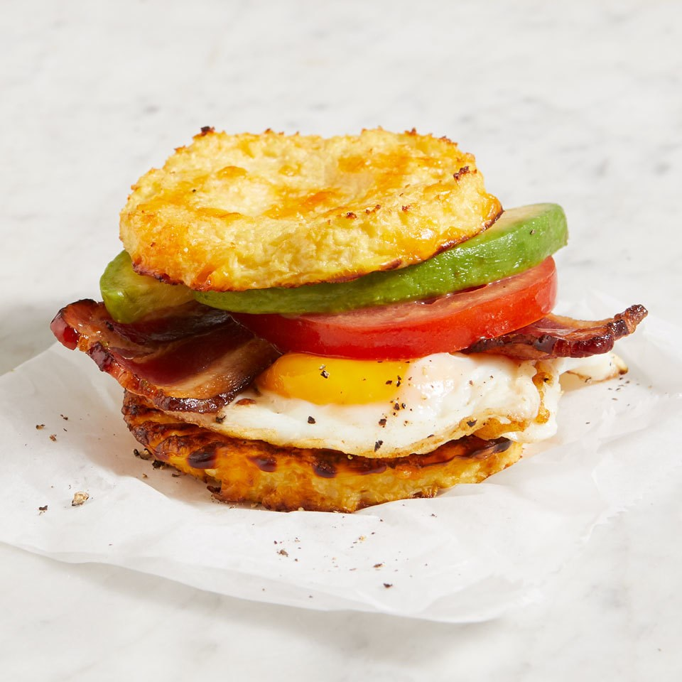 Egg & Bacon Cauliflower English Muffin Breakfast Sandwiches
