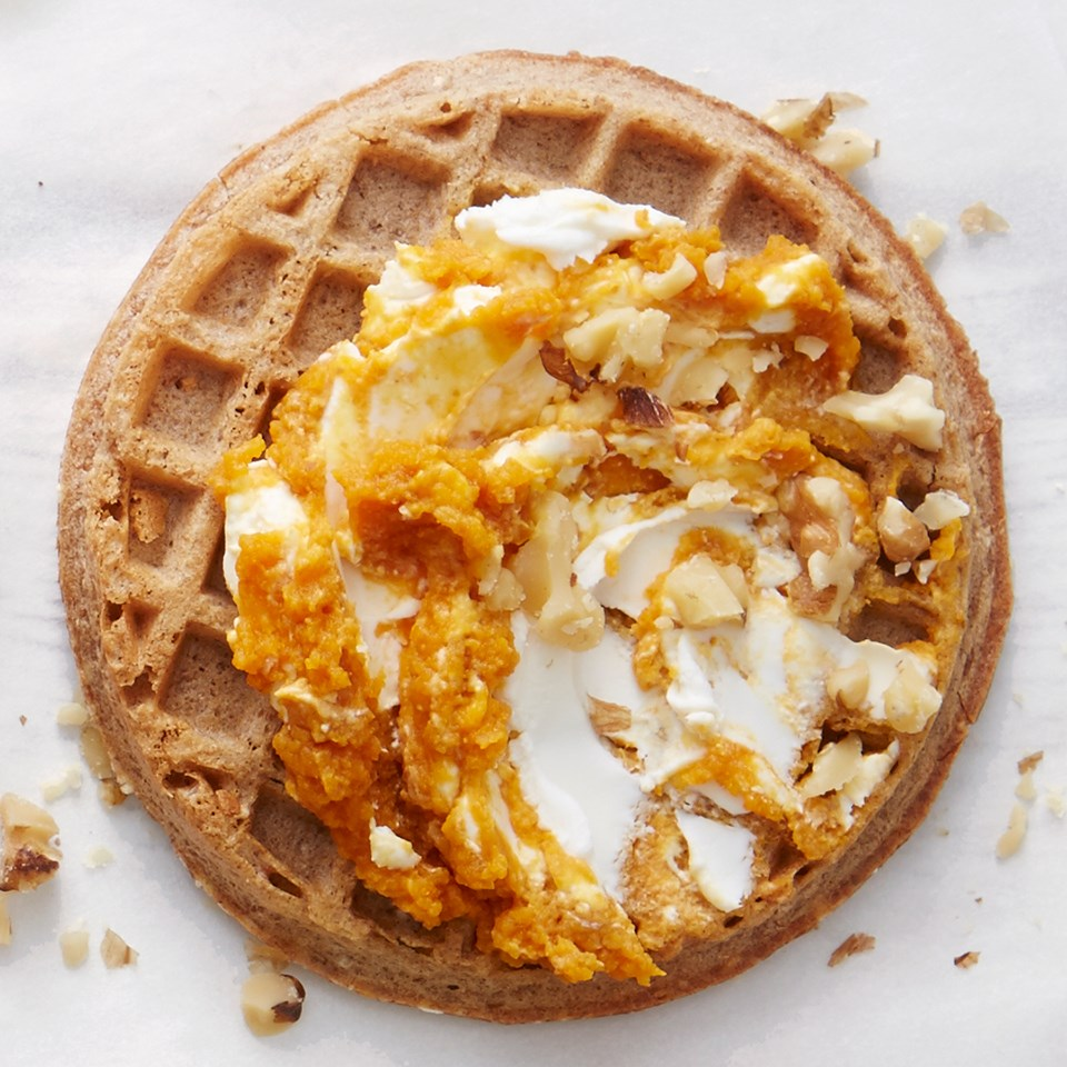 Pumpkin Cheesecake Topped Waffles