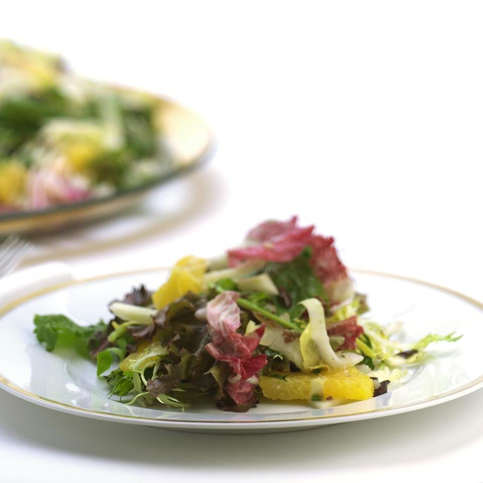 Mixed Lettuce, Fennel & Orange Salad with Black Olive Vinaigrette