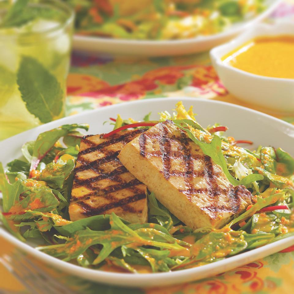 Asian-Style Grilled Tofu with Greens