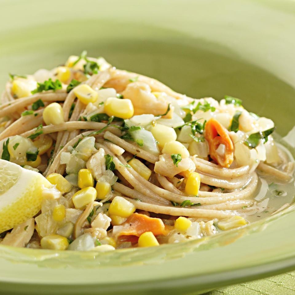 Spaghetti with Clams & Corn