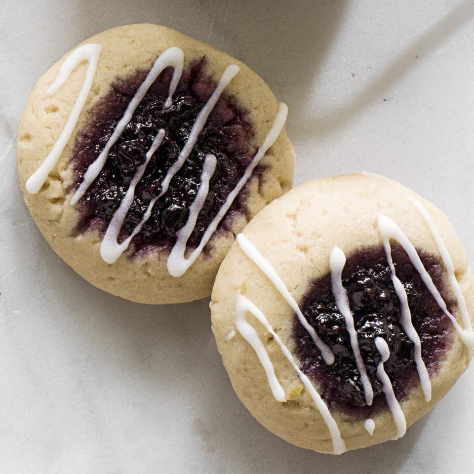 Iced Blueberry Jam Thumbprint Cookies