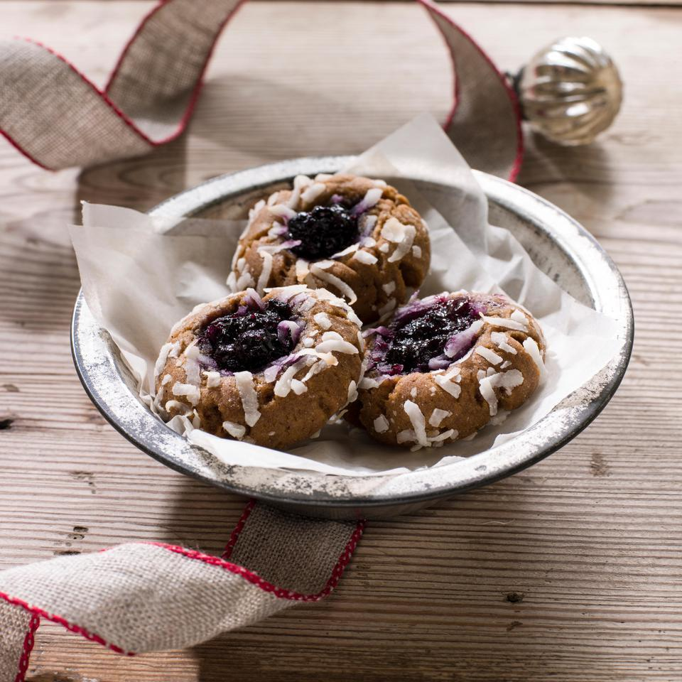 Gingerbread-Coconut Thumbprint Cookies with Blueberry Jam