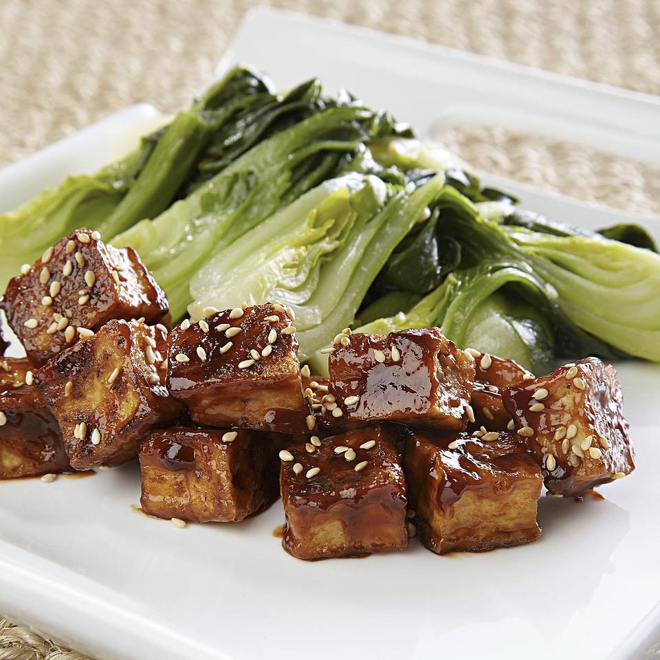 Crispy Glazed Tofu with Bok Choy for Two