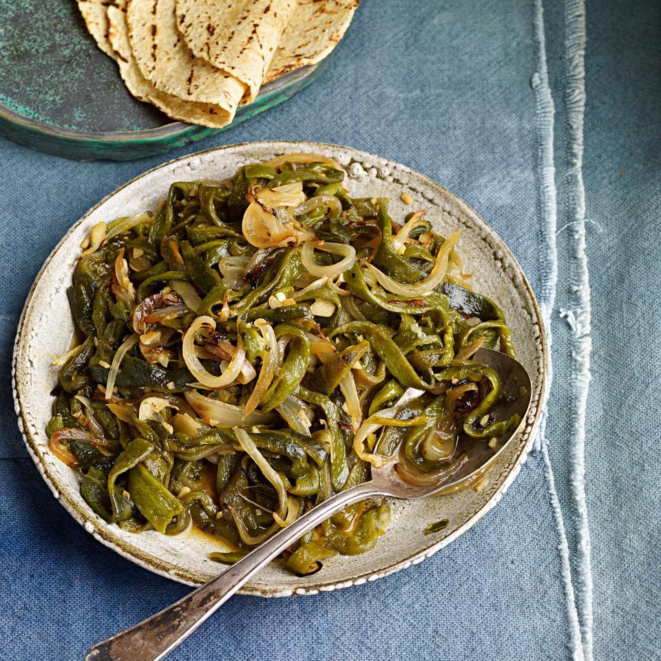 Roasted Poblano Chiles with Onion Rajas