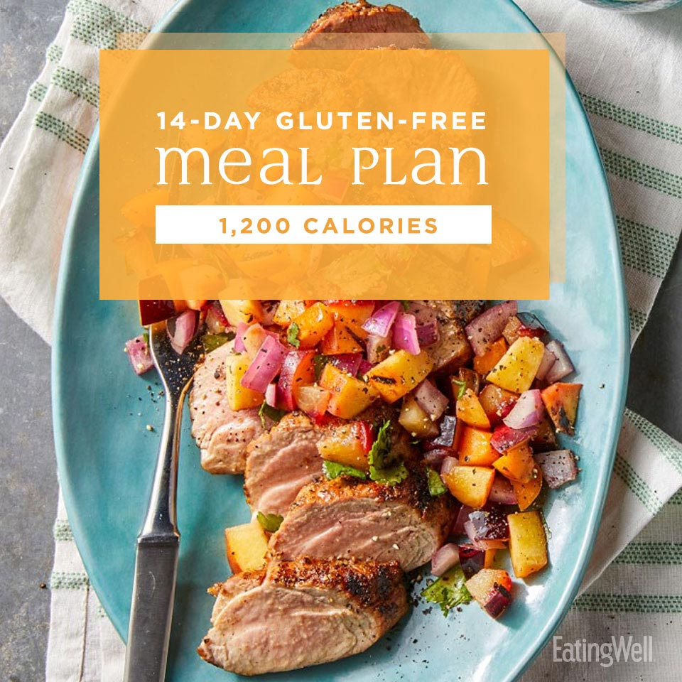 14-Day Gluten-Free Meal Plan: 1,200 Calories; grilled pork with peach salsa