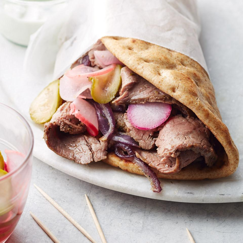 Flank Steak Gyros with Quick Pickles
