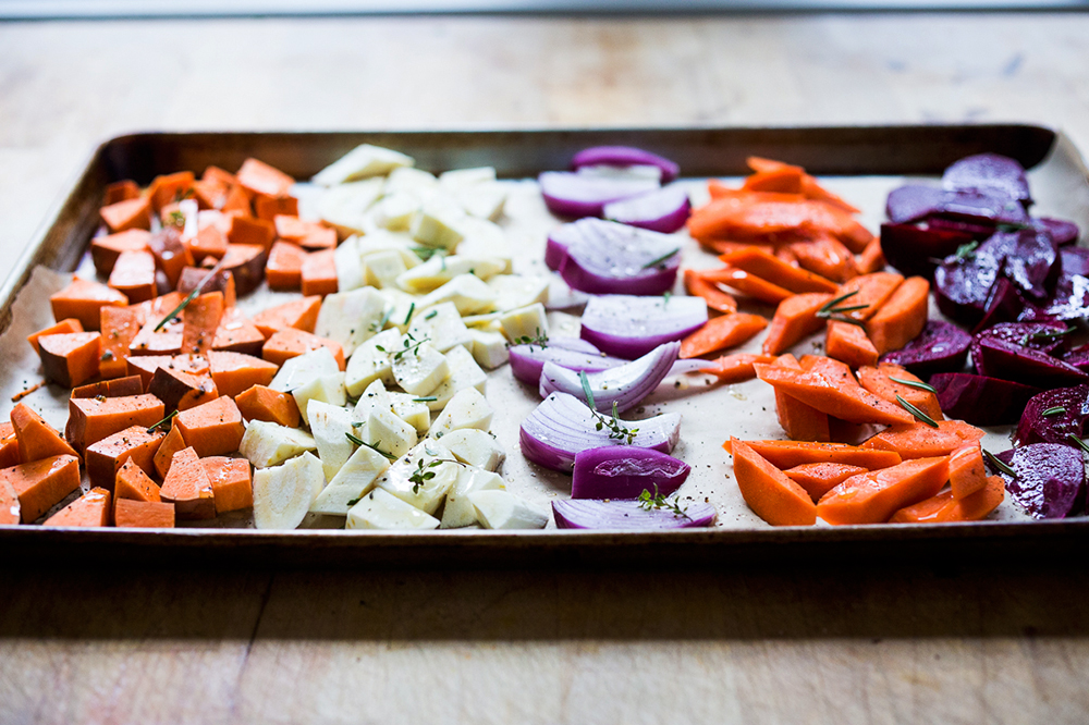 purple and orange veggies on tray