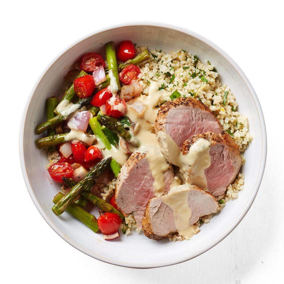 Roast Pork, Asparagus & Cherry Tomato Bowl