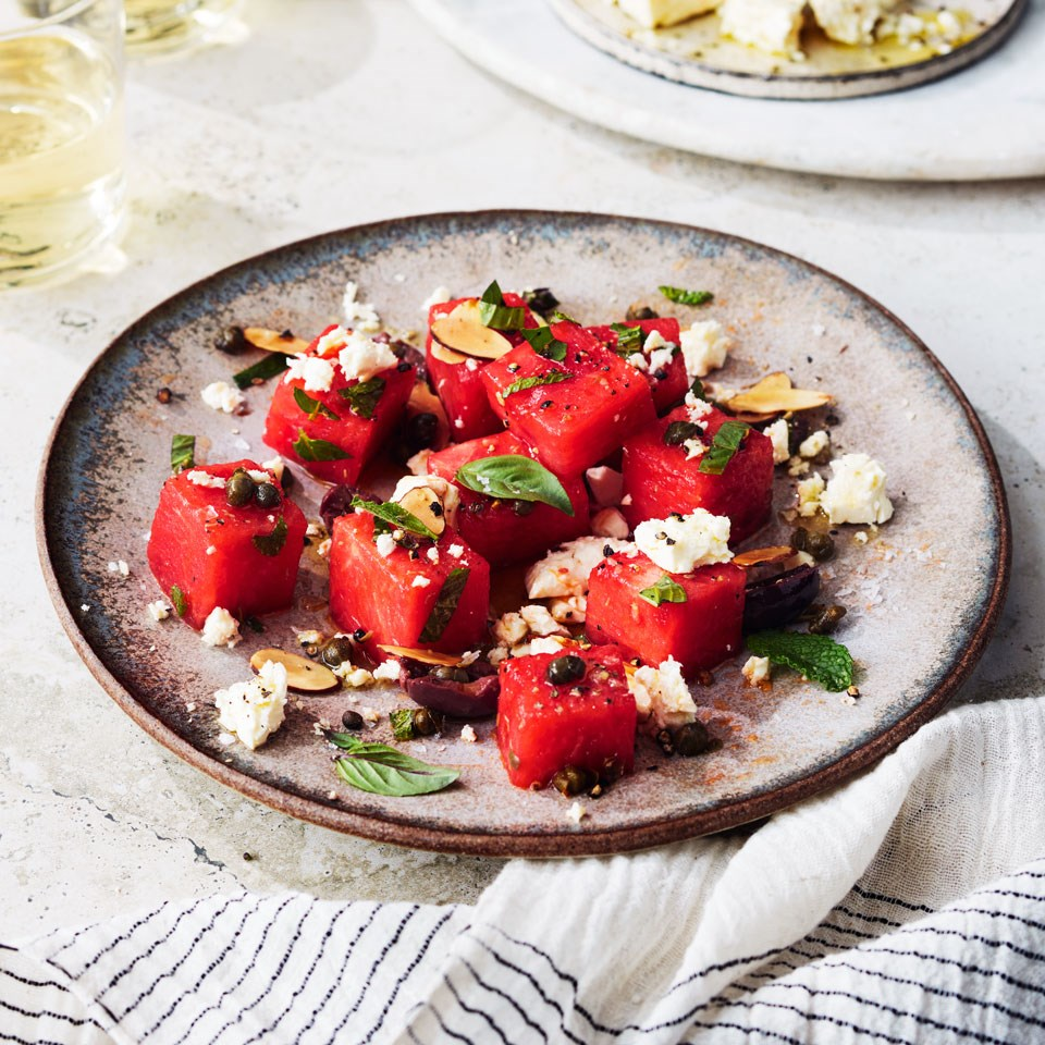 Watermelon, Olive, Caper and Feta Salad
