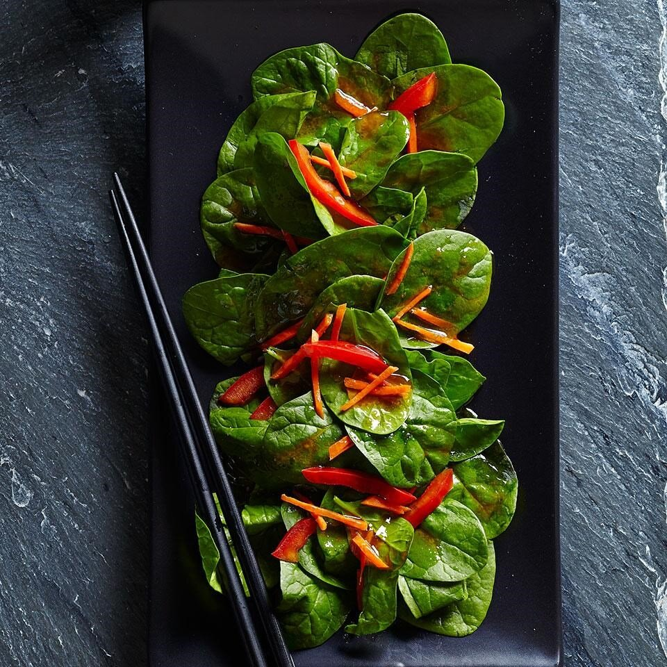 Spinach Salad with Japanese Ginger Dressing