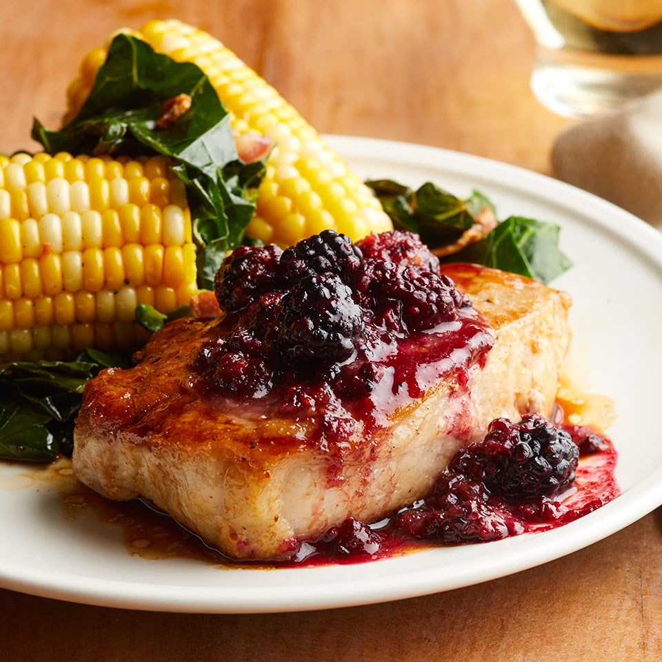 Blackberry BBQ Pork Chops with Collards and Corn
