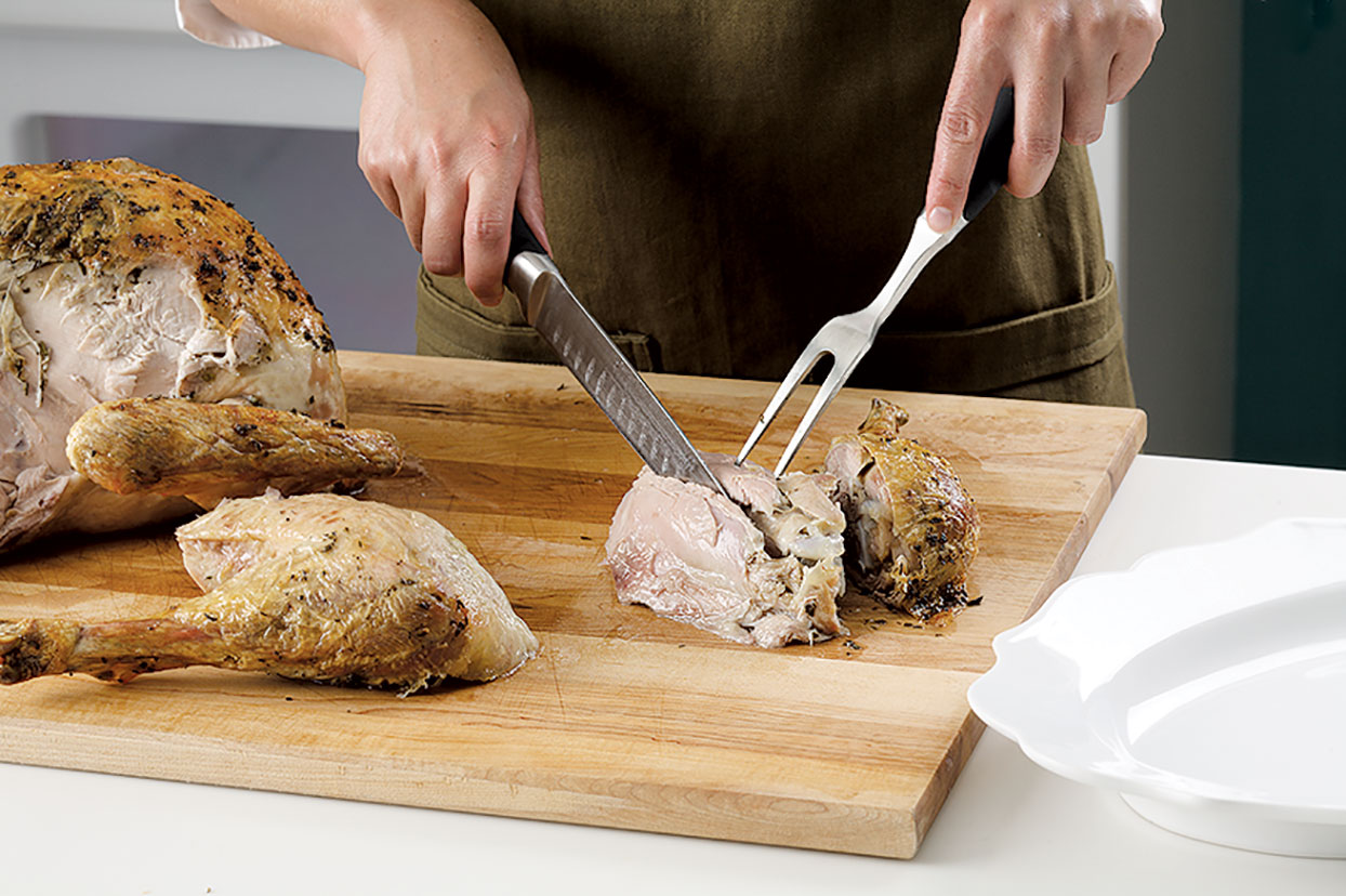 Carving a turkey: slicing thigh meat