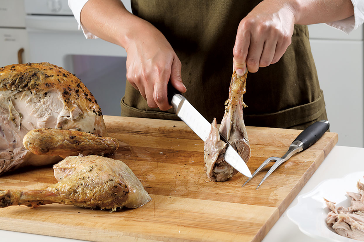Slicing turkey drumstick meat