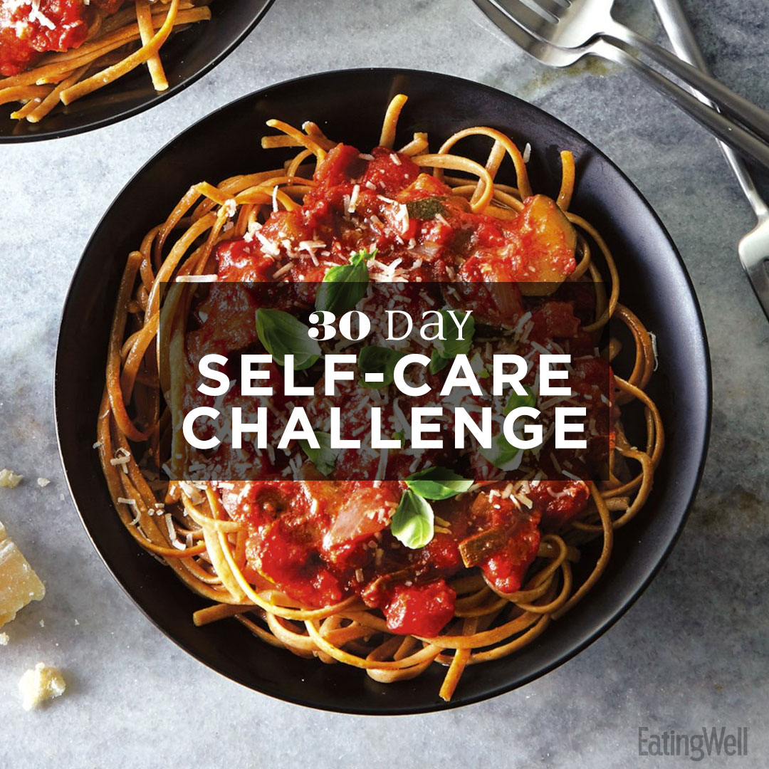 30 Day Self-Care Challenge text and a bowl of delicious looking pasta
