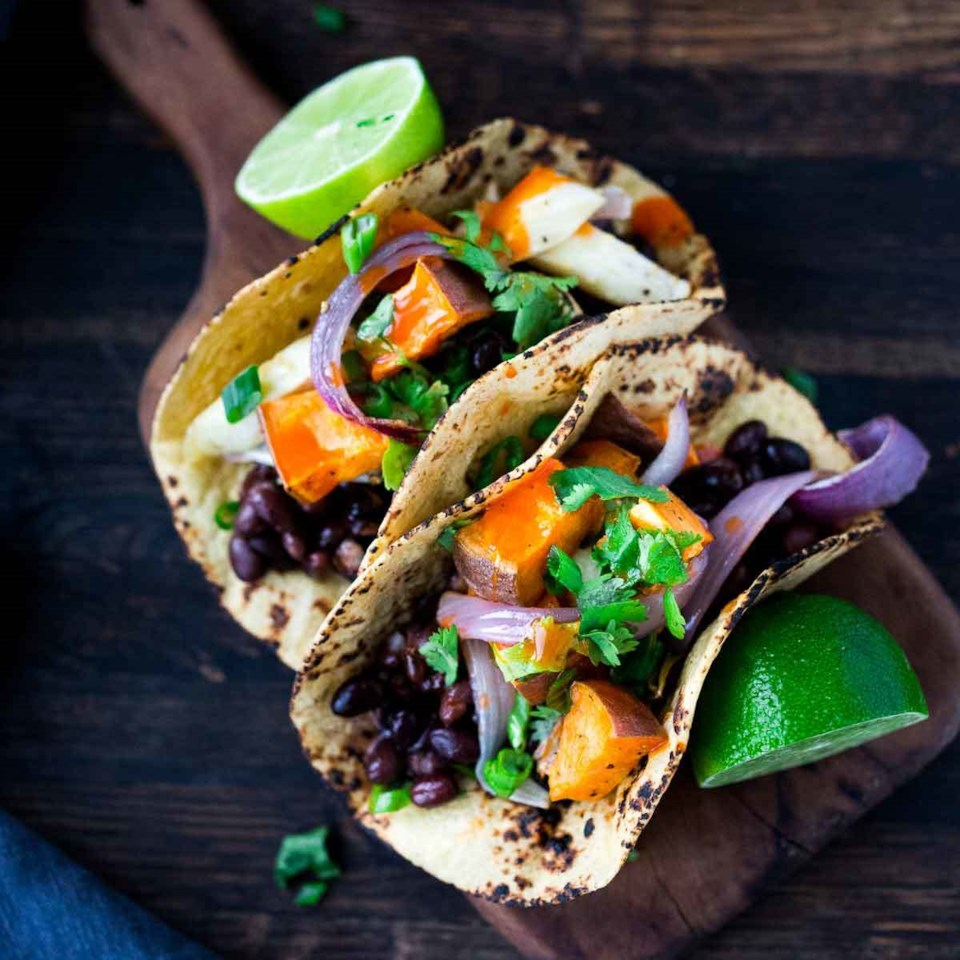 Roasted Vegetable & Black Bean Tacos
