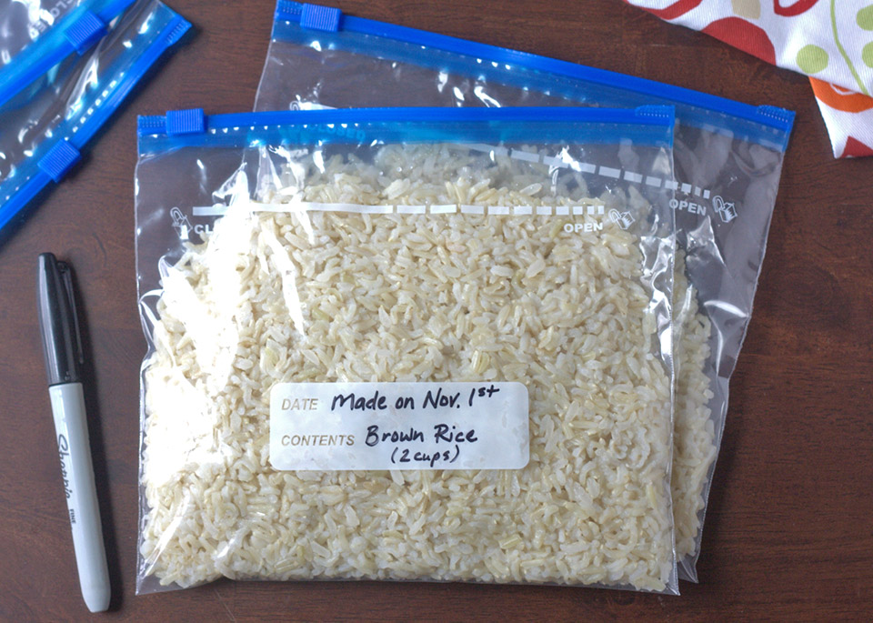 ziplock bag of rice