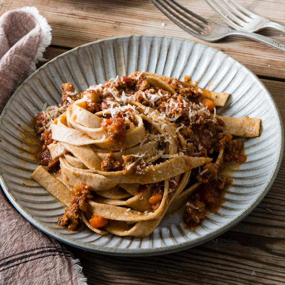 Beef & Pork Ragù with Fresh Whole-Wheat Taglierini