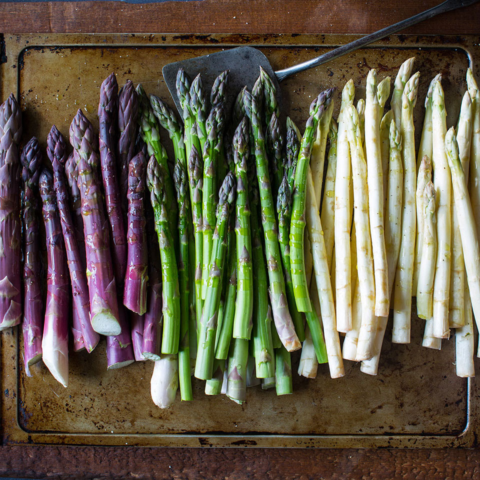 green purple and white asparagus