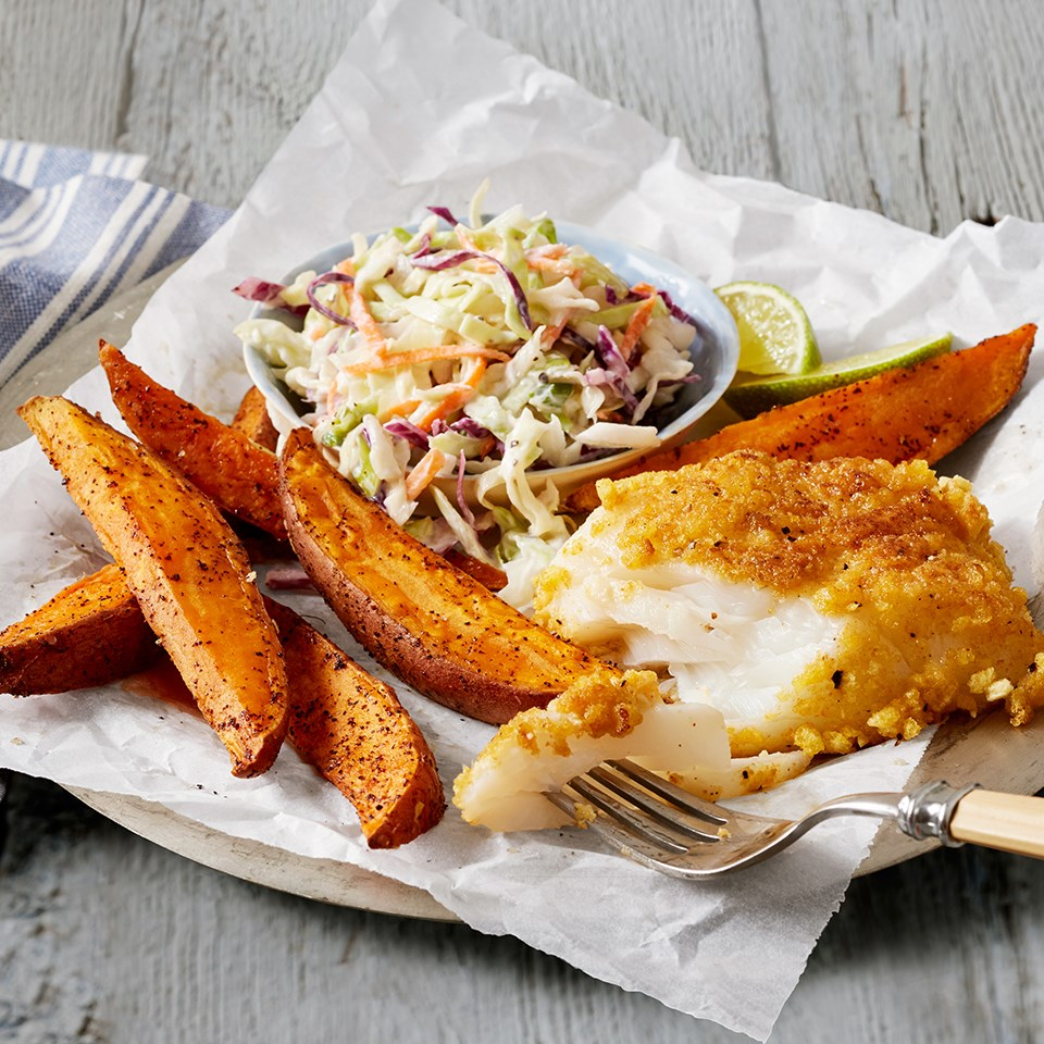 crispy fish and chips with cole slaw