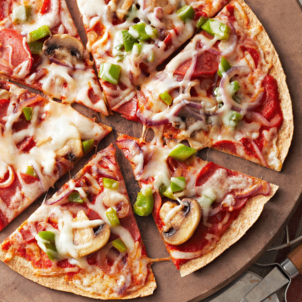 Thin-Crust Pepperoni and Vegetable Pizza
