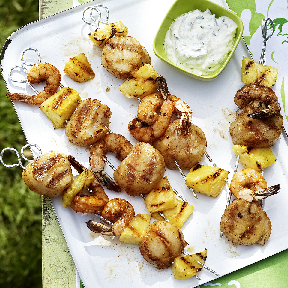 Shrimp, Scallop & Pineapple Skewers with Cilantro Aioli