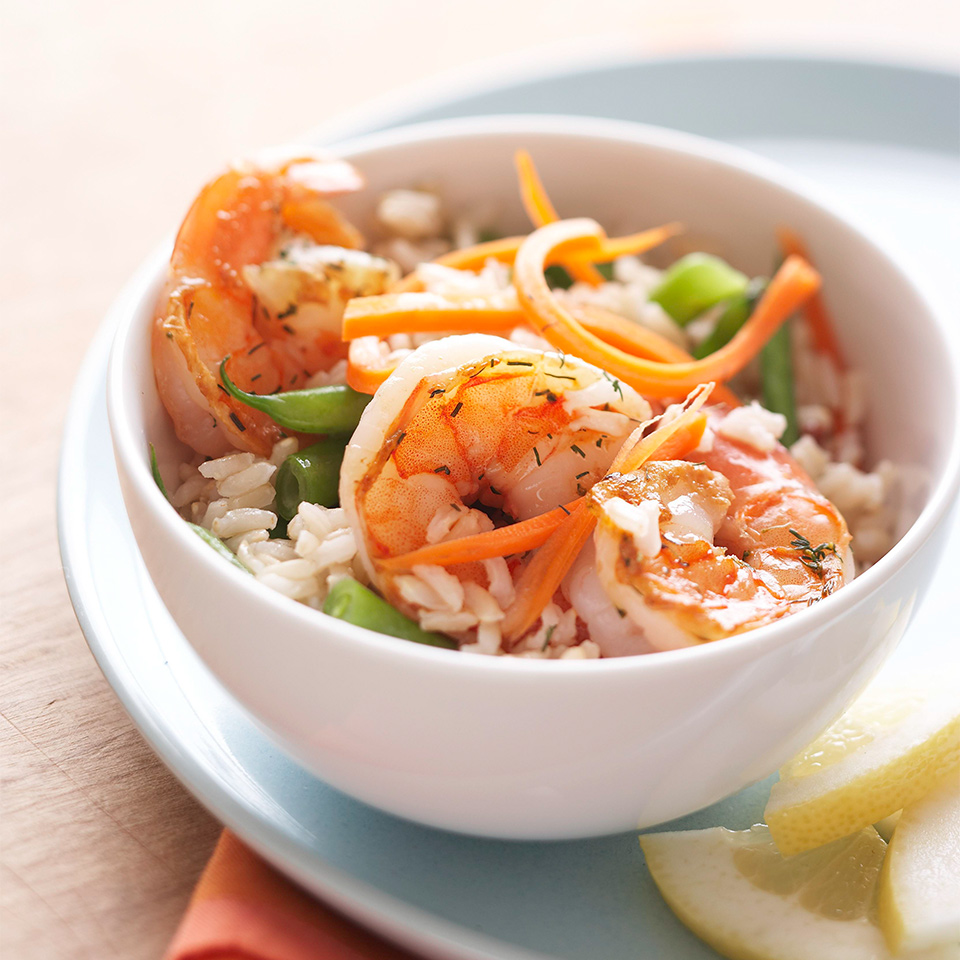 Dilled Shrimp with Beans and Carrots