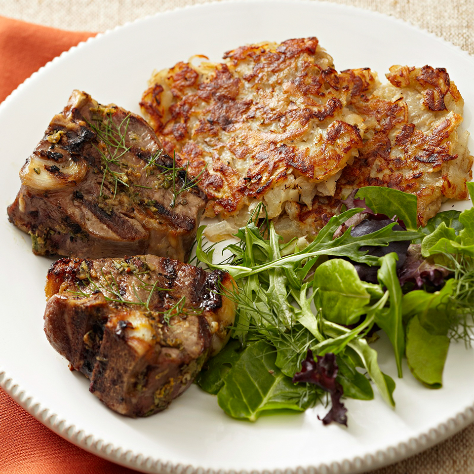 Rosemary-Lemon Lamb Chops with Potato and Fennel Latkes