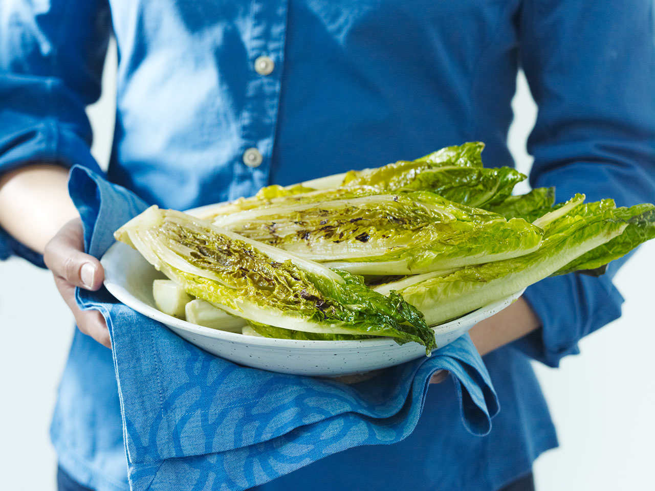 grilled romaine lettuce on a plate