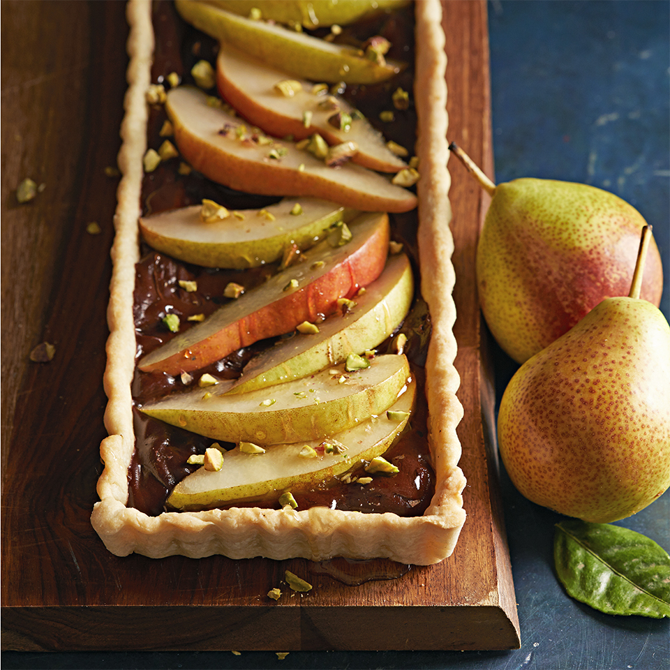 Chocolate, Pear, and Pistachio Tart