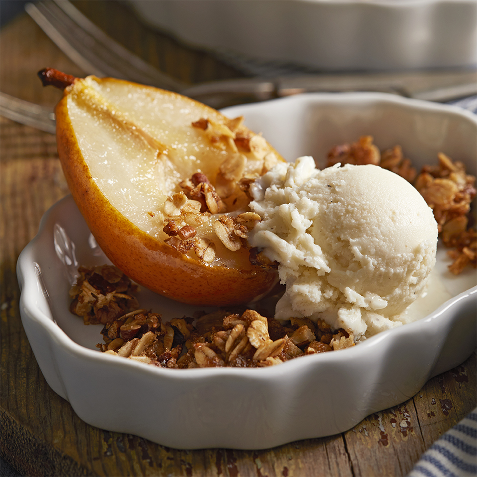 Roasted Pear with Crumble Topping